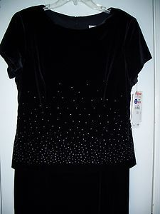 Jessica Howard Womens Size 14 Lined Black Velvet Polyester Holiday