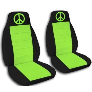 2000 VW Beetle car seat covers. 2 black and lime green seat covers