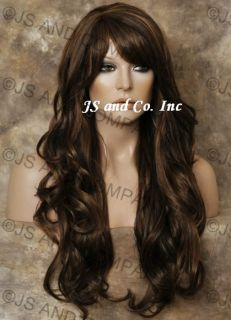 Human Hair Blend Long Wavy Heat Resistant Brown Mix Wig