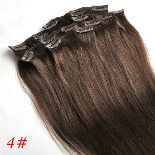 18inch 4 Medium Brown Real Human Hair Extensions
