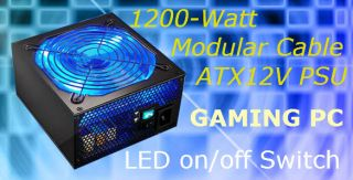 Modular Gaming PC Power Supply 140mm LED Fan Lighted Mod Socket ATX