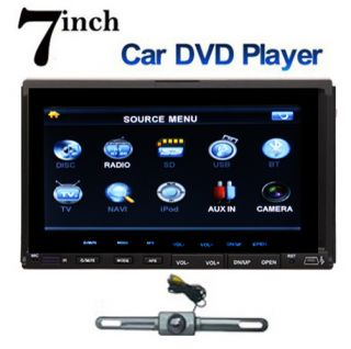 Camera Double 2 DIN 7in Car DVD CD  Player Touch Screen in Deck