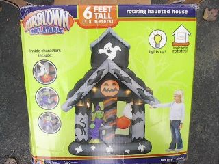 Haunted House 6 Foot Inflatable Rotating Witches