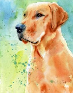Print Yellow Labrador Retriever Dog Painting Art