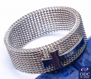 Free SHIP Mesh Chain Band Cross Stainless Steel Ring Sizes 7 14