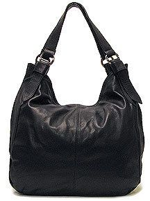 Italian Leather Handbag Purse Hobo Shoulder Bag Tote 7003 Black