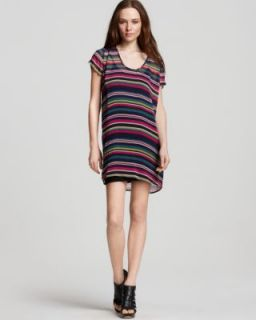 Joie New Isobel Multi Color Short Sleeve Striped Silk Lined Casual