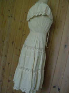 Vintage 70s Mexican Crochet Lace Wedding Dress Gauze Boho Ethnic