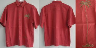 New Mens Palm Embroidered Sewn Hawaiian Casual Tropical Shirts Button
