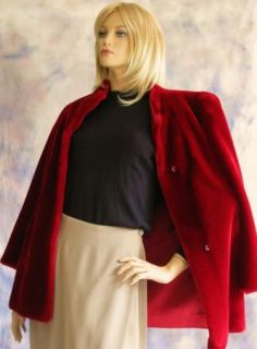 Fabulous Plush Faux Fur Jacket Coat Dark Red Standup Collar 10