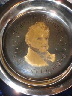 James Buchanan RARE Sterling Silver Ed Franklin Mint Plate w 24KT Gold