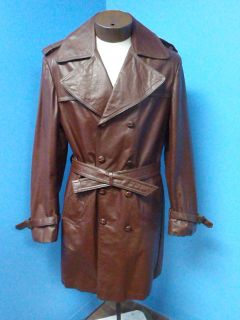 53457 JEAN PIERRE Vintage Trench GENUINE Real LEATHER Men Coat Jacket