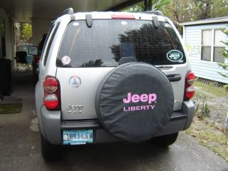 Brawny Series   Jeep Liberty PINK on Black 30 Tire Cover Denim Vinyl