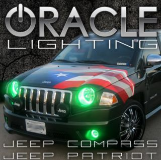 Jeep Compass Patriot Green Headlight Halo Kit Oracle LED Rings Green