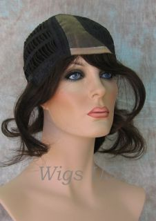 Wigs Med Dark Brown 100 Human Hair Mono Top Wig