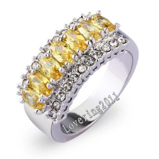 Brand Jewellery Sparkling Women 18K Yellow Gold Filled 9ct Topaz Ring