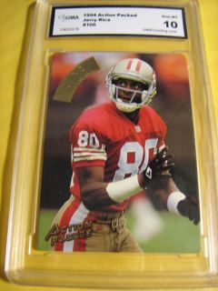 Jerry Rice s F 49ers 1994 Action Packed 106 Graded 10