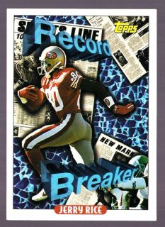 Jerry Rice 49ers HOF 1993 Topps Record Breaker 2