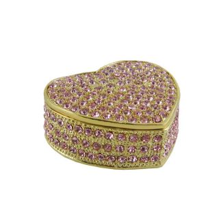 Bedazzled Heart Trinket Jewelry Box w Pink Swarovski Crystals