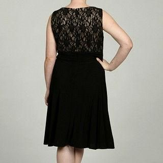 Jessica Howard Sequin Lace Bodice Black Cocktail Dress 16W