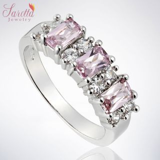 EMERALD CUT FASHION JEWELRY PINK SAPPHIRE LADY 18K GOLD PLATED RING 8