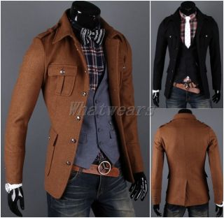 JJ Fashion Mens Button Design Slim Casual Jacket Wool Coat Tops Brown