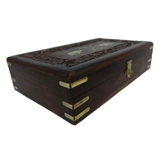 Vintage Style Medium Wooden Jewelry Wood Box Storage Trunk MWB6