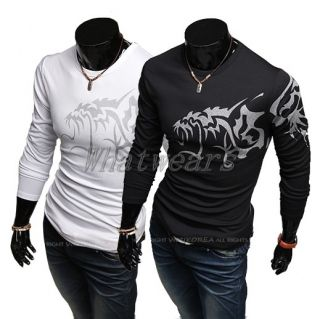 JJ Fashion Mens Casual Slim Fit Wolf Tattoo Long Sleeve T Shirt Tops