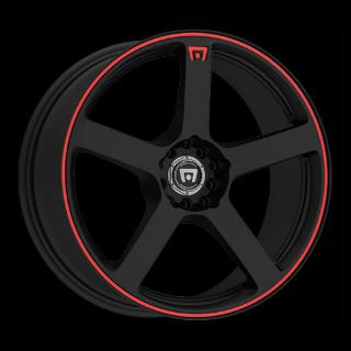 (FOUR RIMS) of 17 X 7 BLACK W/RED STRIPE MR116 MOTEGI RACING RIMS
