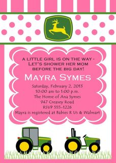 John Deere Farm Tractor Inspired Baby Girl Shower Personalized