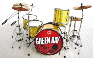 Miniature Guitar Green Day  Uno Dos Tre  Guitar, Bass and Drums Set
