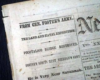1864 Civil War Newspaper Murfreesboro TN Negro Troops General John G Foster