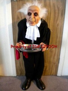 Animated Talking Butler Halloween Prop Candy Server Door Greeter Decoration