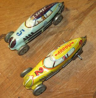 Early Marx Co Streamline Tin Wind Up Cars Comet Arrow Working Condition