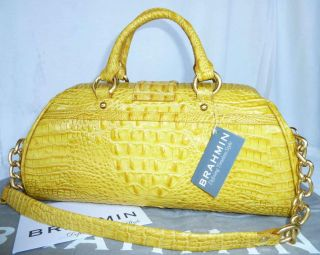 Brahmin Reed Canary Patent Joslin Satchel Shoulder Bag Dust Bag Card