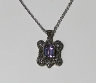 New Judith Jack Silver Chain w Amethyst Stone Pendant Necklace Jewelry Womens