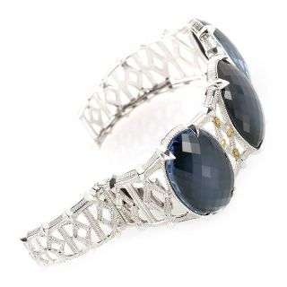 Judith Ripka Sterling Silver 18K Yellow Gold Diamond Blue Quartz Bangle