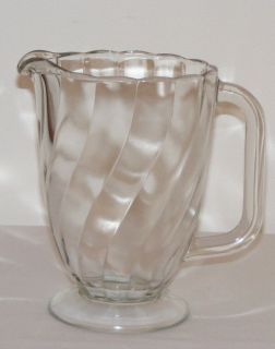 1960s Canadain Swirl Pressed Glass Water Juice Pitcher Jug