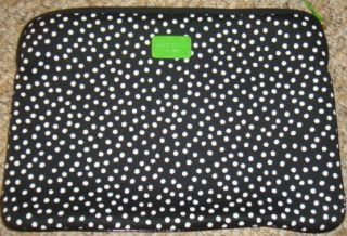 Kate Spade Black White Rainspot Dotted Laptop Soft Case Cover Sleeve