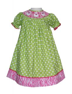 New Girls Kelly Green Polka dot and zebra smocked Bishop dress size 3T