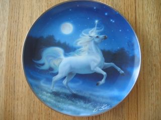 Franklin Mint Plate The Diamond Unicorn Kirk Reinert COA Mint