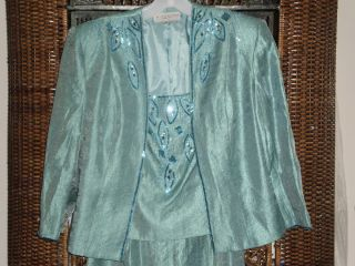 KM COLLECTIONS BY MILLA BELL AQUA BLUE BEADED GOWN AND JACKET LINED