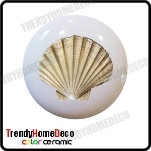 Sea Shell Ceramic Knobs Pulls Kitchen Drawer Cabinet Vanity Closet 213