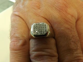 Mens 14kt White Gold Diamond Ring 1 2ct Pave Rounds