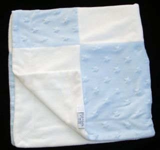 Kyle & Deena BLUE & WHITE MINKY RAISED STARS PATCHWORK BABY BLANKET