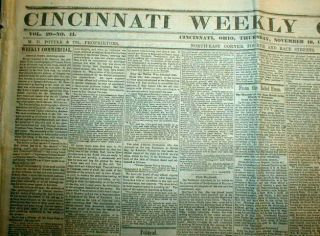 1864 Civil War newspaper ABRAHAM LINCOLN Re ELECTED PRESIDENT of the
