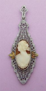 Intricate Antique 1912 Art Deco 10K White Gold Esenco Cameo Lavalier