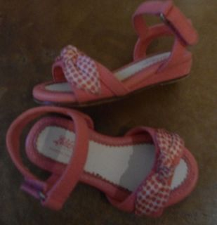 Lela Rose Baby Girl Shoes Size 5 Pink Velcro Wedge Sandals Polka Dot