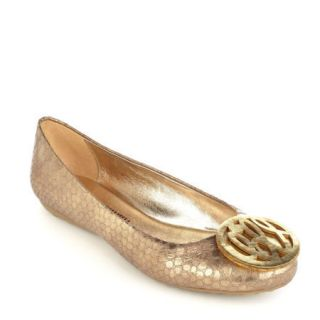 Libby Edelman ALPHA Metallic Monogram Ballet Flat In Antique Gold Size