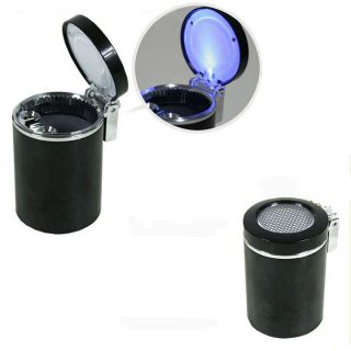 New Black Auto Car Blue Light LED Cigarette Ashtray Holder Smokeless